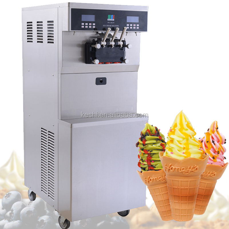 high quality soft serve ice cream machine with 3 flavors; three copleland compressors