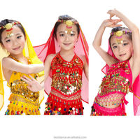 Belly Dance sexy girl's dance Costume children beads coins top Handmade tops with Sequins Beads Bells OEM