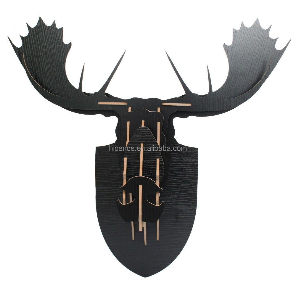Original Wood Alces head avatar for wall decoration