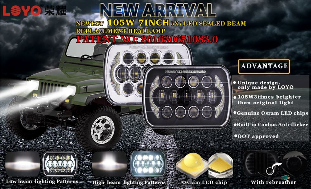 105W 5X7 LED headlight
