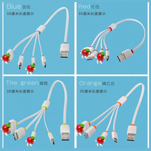 High speed 4 in 1 colorful micro/8pin/30pin usb charging cable date line for smart phone/iphone universal usb cable