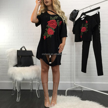 Z80175E wholesale summer shorts sleeve floral embroidery ripped women dress