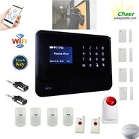 Big LCD Screen ! Cheer GS-WWG01B alarm system wireless sending alert to your mobile phone by wifi first, if no wifi, by gsm