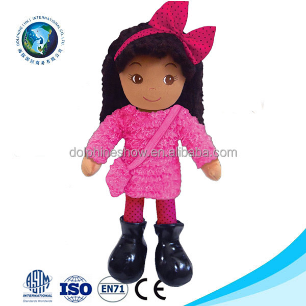 Fashion Kids Stuffed Soft Plush Pink American Girl Black Doll Toy LOW MOQ Custom Pretty Handmade Rag Cloth African Doll