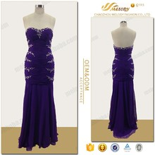 2017 new maxi purple beaded sweetheart evening dress for famale party dress