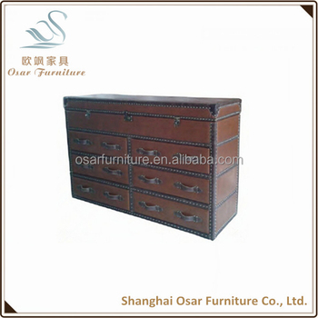 Osar Antique Furniture Vintage Faux Leather Storage Trunk
