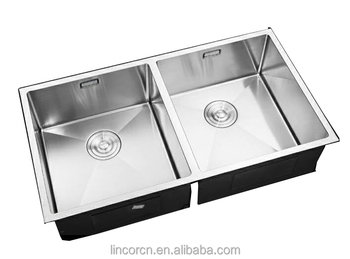 Superior quality hot sale double bowl glossy stainless steel kitchen sink