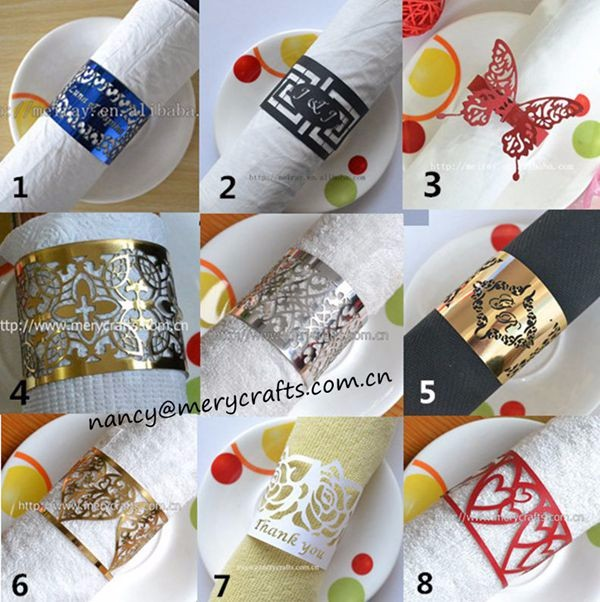 Selling like hotcakes laser cut metallic gold filigree wedding napkin rings