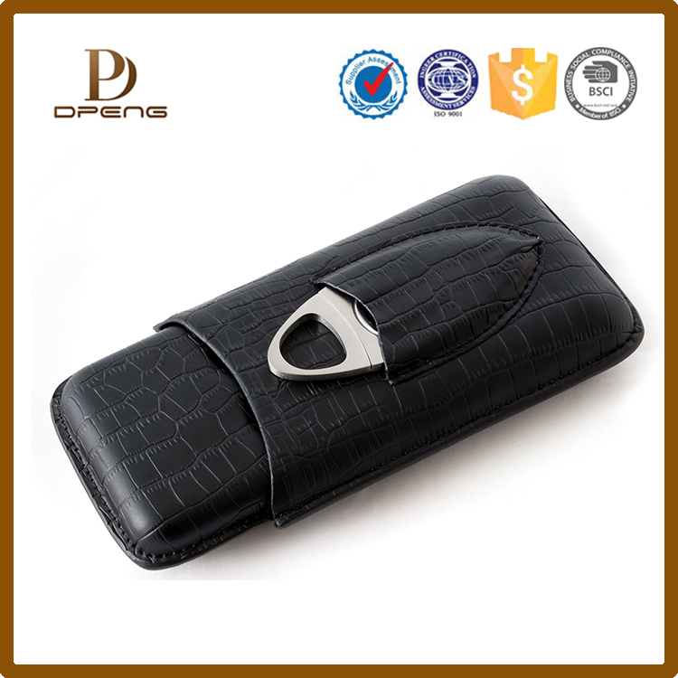 2017 Newest style custom genuine leather cigar case with cutter
