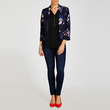 Hot sale 3/4 length sleeve floral print crop design women blazer