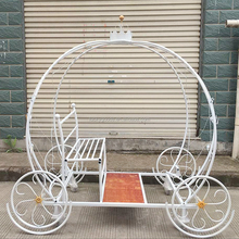 christmas decoration white horse carriage decor with crown on the top