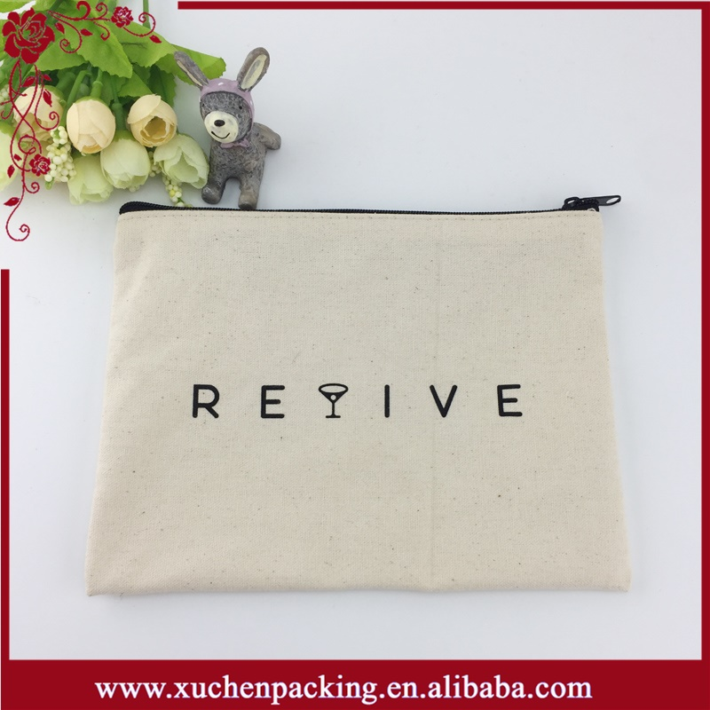 Wholesale customized printed cotton canvas zipper pouch nature