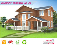 luxury wood villa 2-floor prefabricated log house