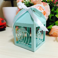 2016 New Design Blue Laser Cut Wedding Paper Candy Box with Ribbon