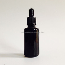 cosmetic packaging 30ml 1OZ gloss black glass bottle with child proof dropper