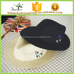 cat embroidery children straw fedora hats