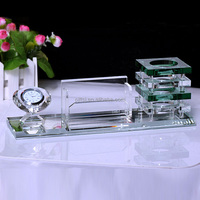The new diamond crystal crystal gifts custom brush pot three-piece office business