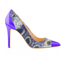 fashion trend sexy purple and snake pointed toes high heel women pump shoes