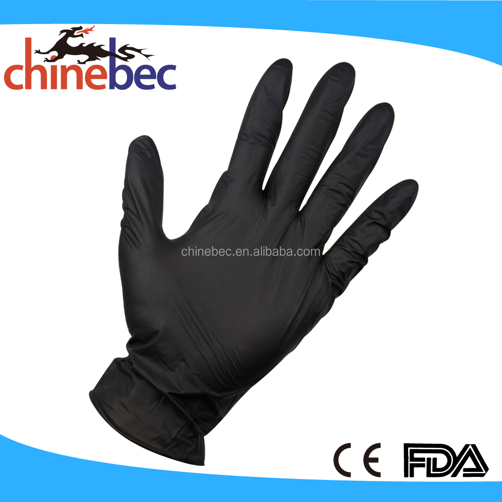 Custom Disposable Black Powder Free Nitrile Gloves With Cheap Price