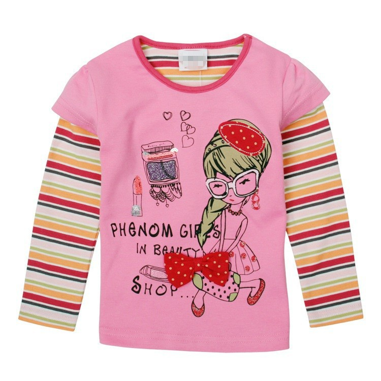 R&H lovely print OEM hot selling new fashion Long sleeve girls blank ruffle sleeve t shirt