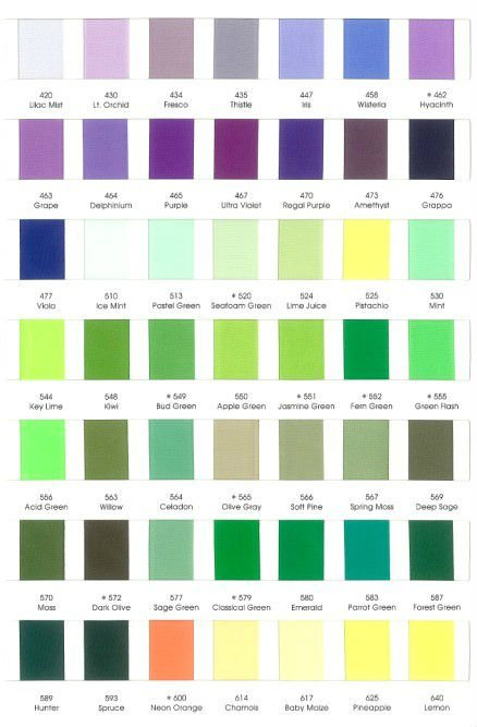 196 stock satin color chart