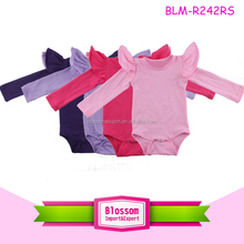2017 Wholesale Boutique NewBorn Baby Clothes Baby Girls Long Sleeve Tulle Futter Romper Onesie Kids Flutter Sleeve Bodysuit