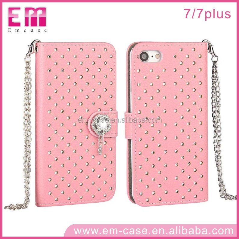 Fashional Diamond Babysbreath Wallet Leather Cell Phone Case For iPhone7 7plus