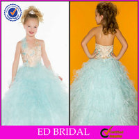 2014 Gold Light Blue Organza Ball Gown Taobao Kids Wedding Dresses Picture