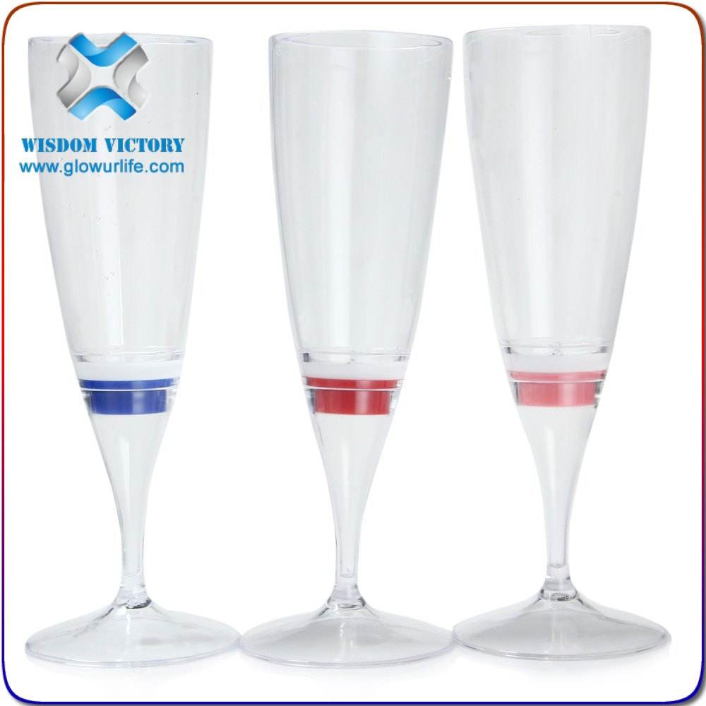 Hot sales halloween Flash LED Luminous champagne Induction flash glass , champagne glass plastic