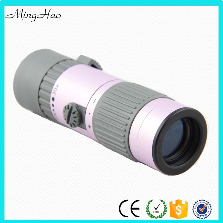 Minghao HM13 Made in China Mini Zoom Pink Monocular 10-30x Telescope