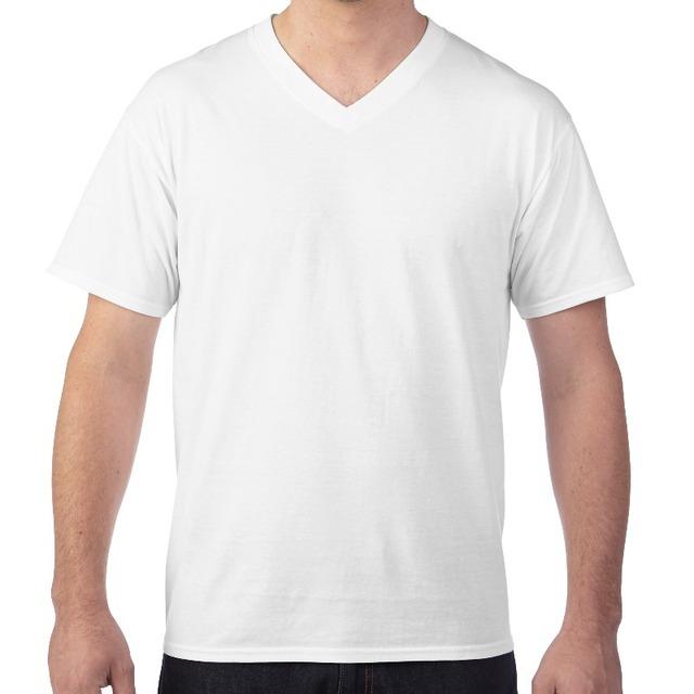 Man Cotton Blank Printed White V-neck Custom T-shirt With Company Logo