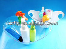 PP and PS Plastic mini bathtub for packaging bath products transparent PP mini bath tub with electroplate feet