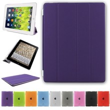 Sleep&wake function PU leather case cover for iPad 2/3/4 in purple case OEM