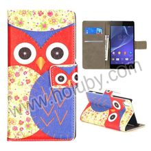 Colorized Owl Leather Case for Sony Z2 L50W,Magnetic Flip Wallet Case for Sony Z2 L50W D6502 D6503