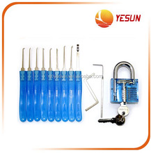 Transparent padlock with two keys & lock pick set
