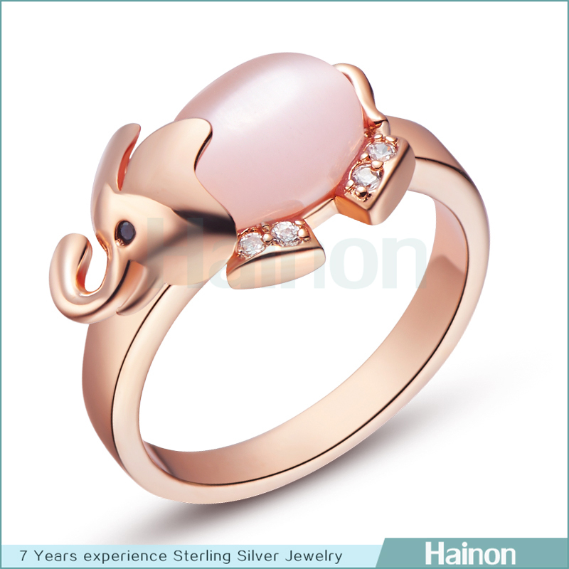 opal elephant ring jewelry gold