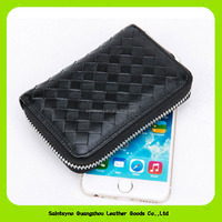 16086 2016 Classical card holders woven zipper organ package type multi card purse