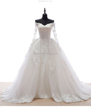 real sample beautiful long sleeves lace ball gown wedding dress #OW511