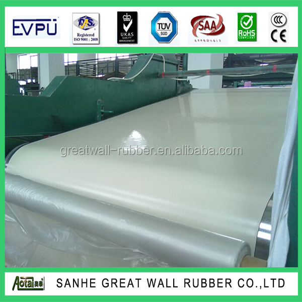 Insertion rubber sheet white color rubber sheeting roll with cotton insert 1player strengthen