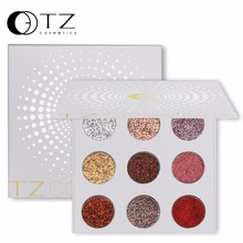TZ 9 colors cosmetic high pigment glitter eyeshadow palette