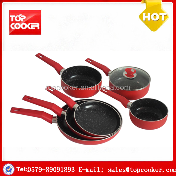 Popular aluminium press marble coated korkmaz cookware