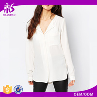2016 Guangzhou Shandao Factory Autumn Fashion Women Elegant Long Sleeve White Loose Chiffon Casual Blouse