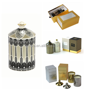 High quality antique decorations ceramic candle jar candle holder with custom gift box