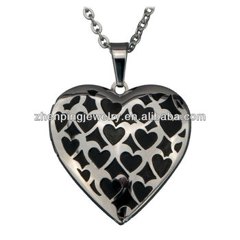 Women's Stainless Steel IP Black Heart Polished Locket Pendant w/ Small Hearts Design stainless steel pendants