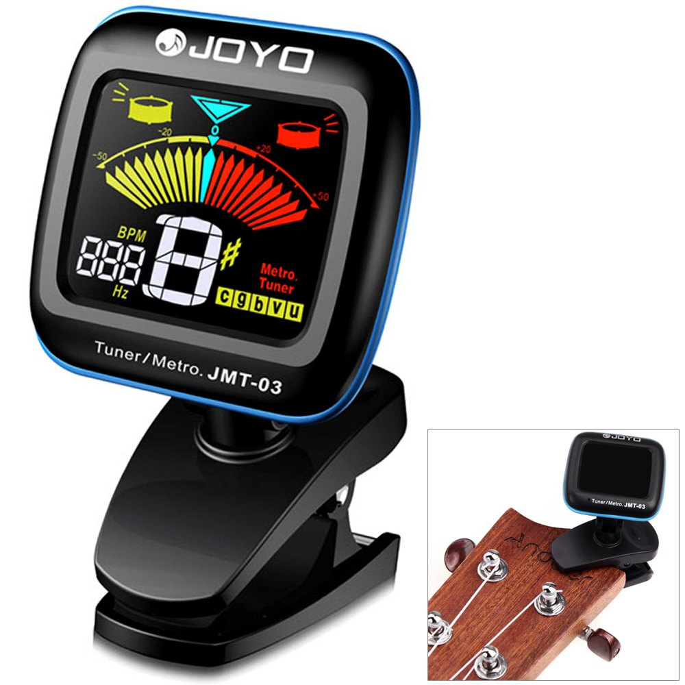 JOYO JMT - 03 Clip-on 360 Degrees Rotation Color LCD Guitar Tuner Metronome for Bass Violin Ukulele Instrument Accessories