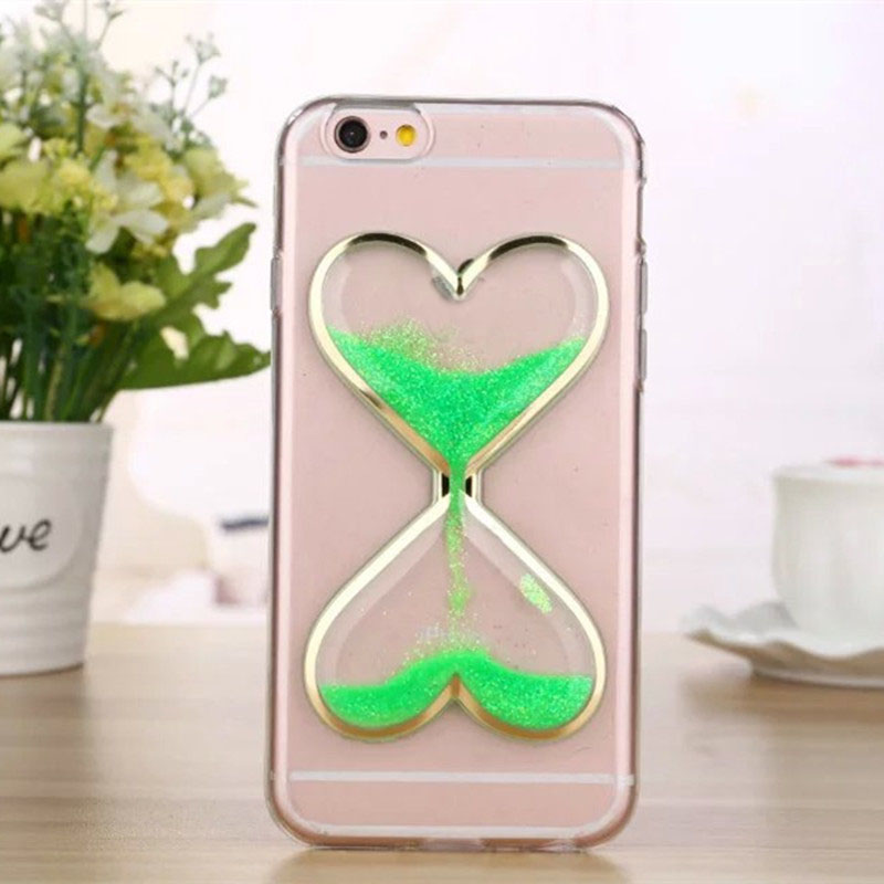 New Clear Heart Liquid LED Cell Phone Case TPU Case For iPhone 6 6s Case