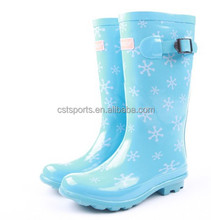 women colorful knee high boots rubber shoes rain shoes