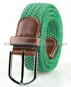 Customized design eco-friendly Cork Braided Stretch Rope Belt mens rope belt