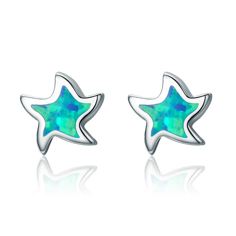 Simple Natural Opal Star Sterling Silver Stud Earrings for Women Jewelry