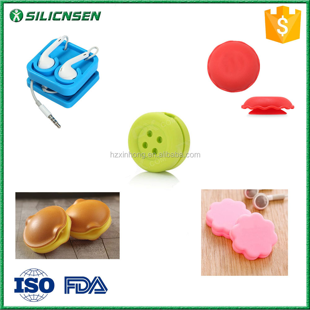 2016 Hot Promotional 5 Designs Silicone Earphone Cable Wire Winder Organizer